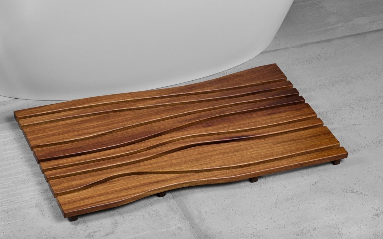 ᐈluxury Aquatica Onde Waterproof Iroko Wood Bath Shower Floor Mat Best Prices Aquatica