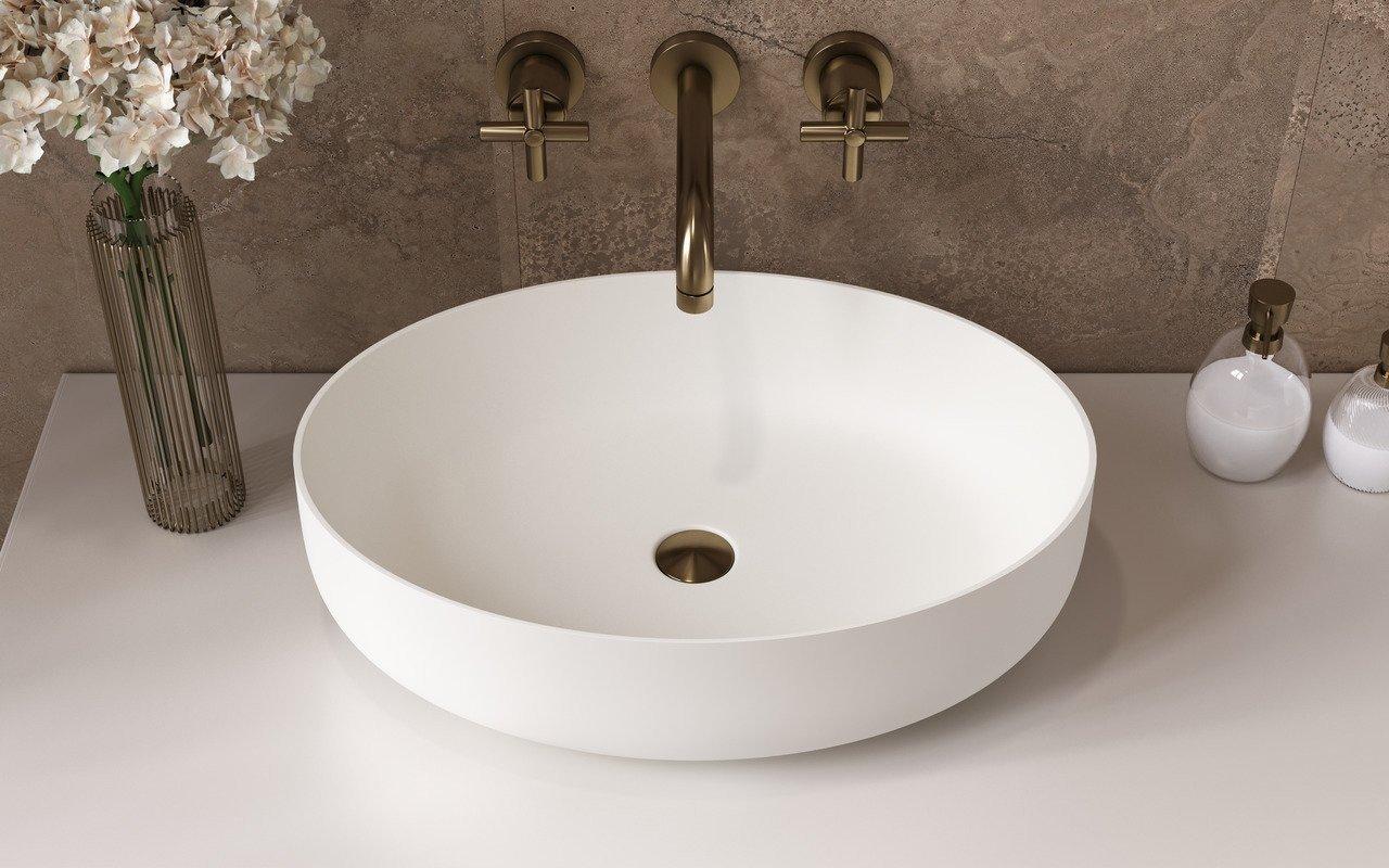 Aquatica Aurora Wht Oval Stone Bathroom, Bathroom Vessels Sinks