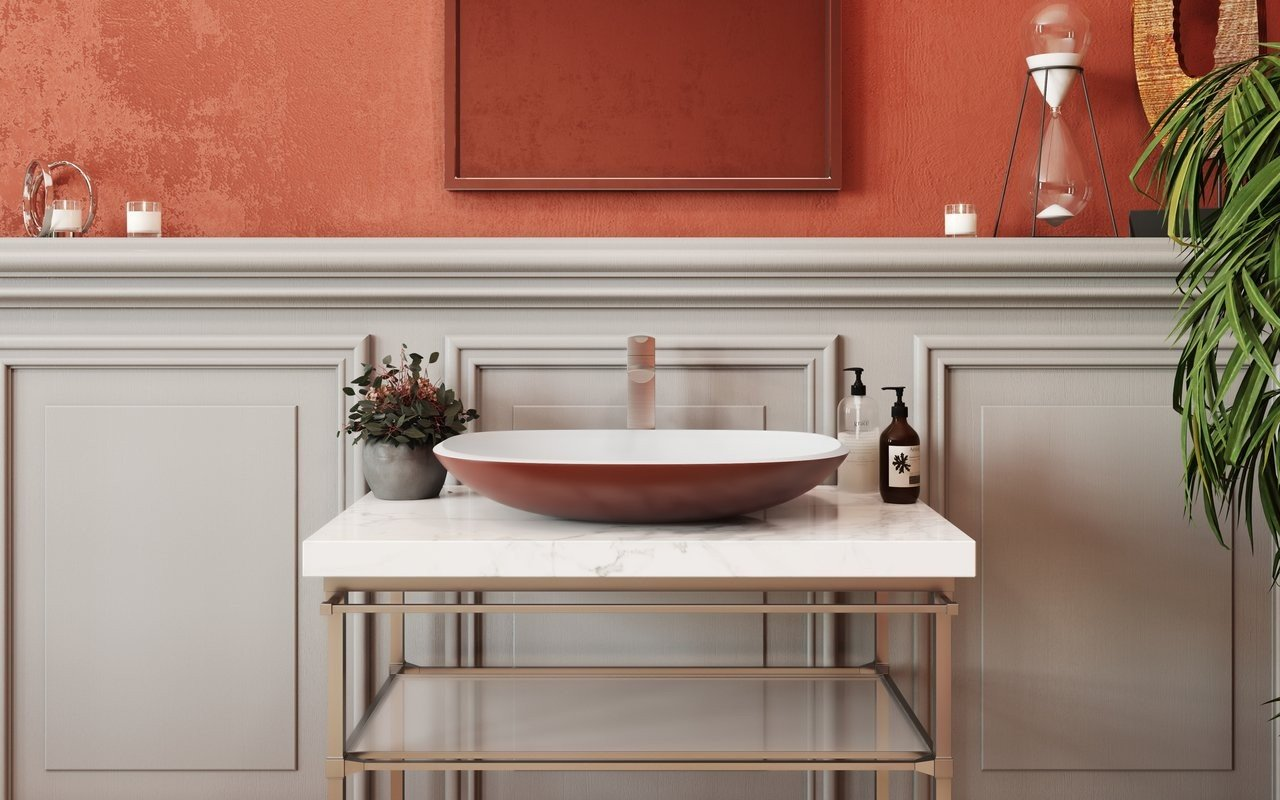 Aquatica Coletta-A Oxide Red-Wht Stone Bathroom Vessel Sink picture № 0