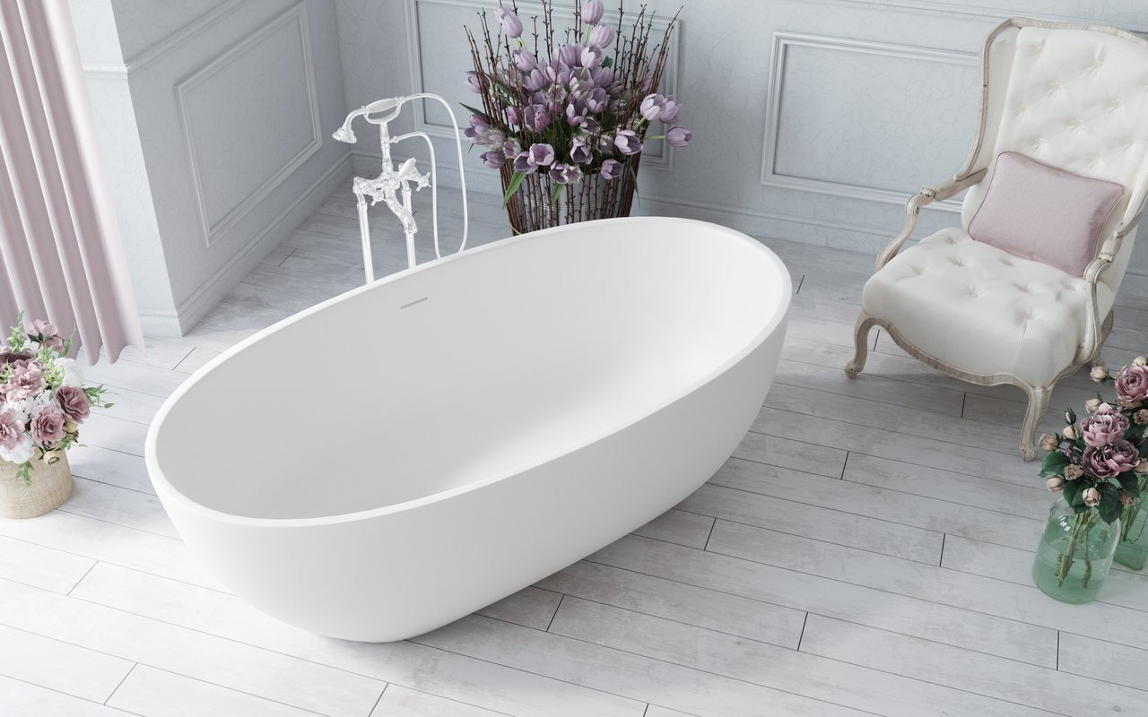 Aquatica Corelia Wht (Purescape 617BM) Freestanding Solid Surface Bathtub 02 (web)