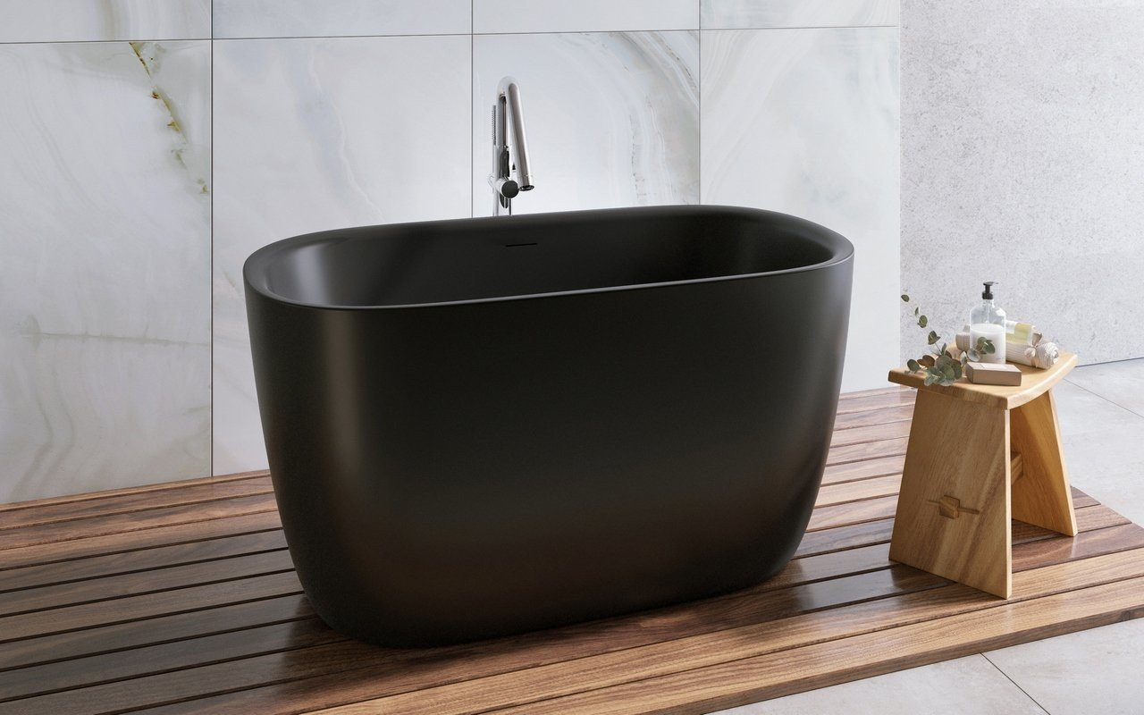 Lullaby 2 Max Black Freestanding Solid Surface Bathtub picture № 0
