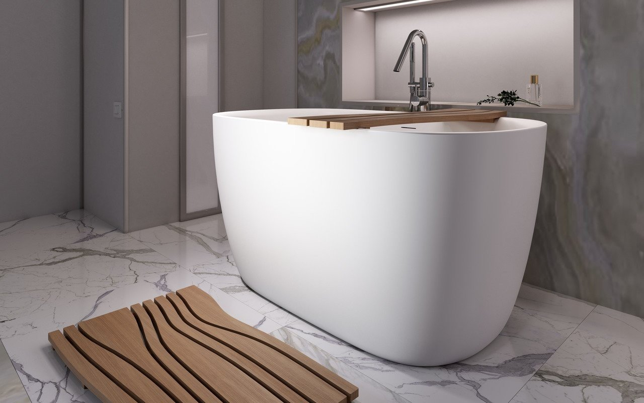 Lullaby 2 Max White Freestanding Solid Surface Bathtub picture № 0