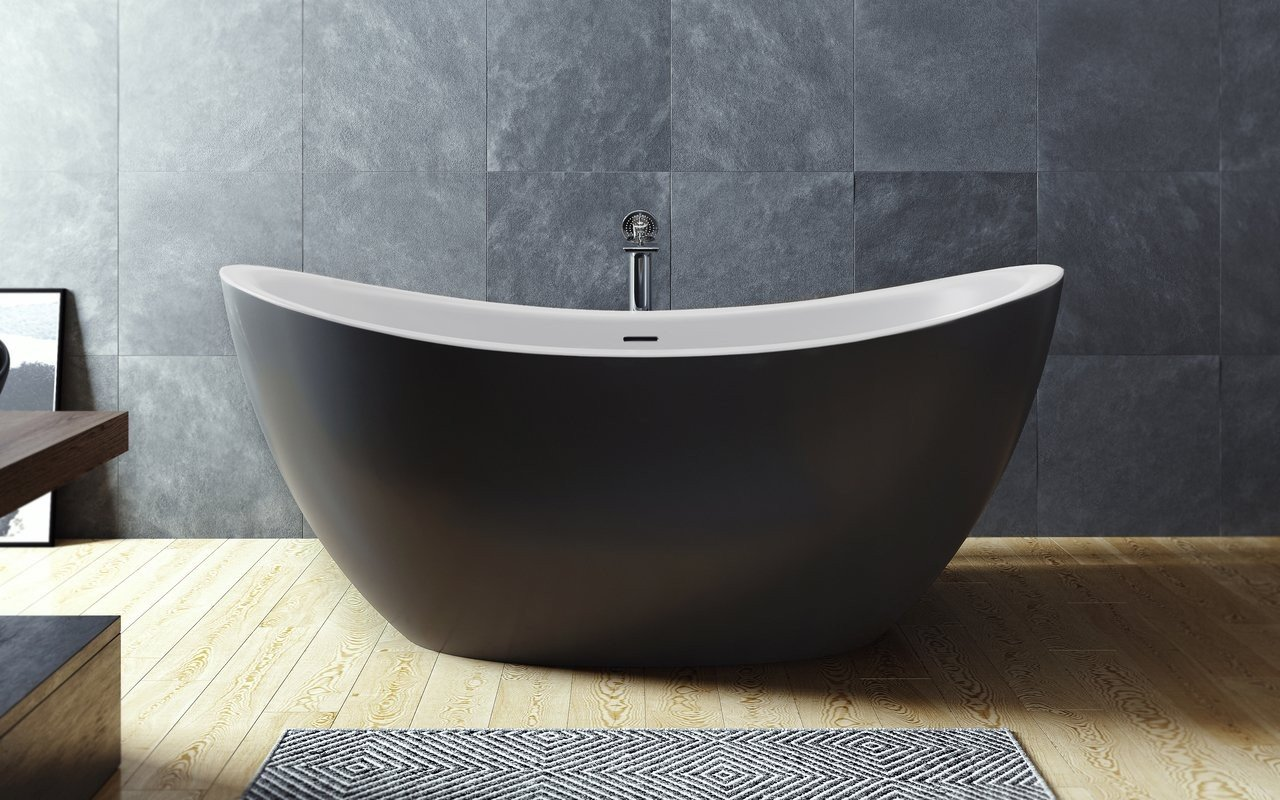 Aquatica Purescape 171M-Blck-Wht Freestanding Solid Surface Bathtub picture № 0