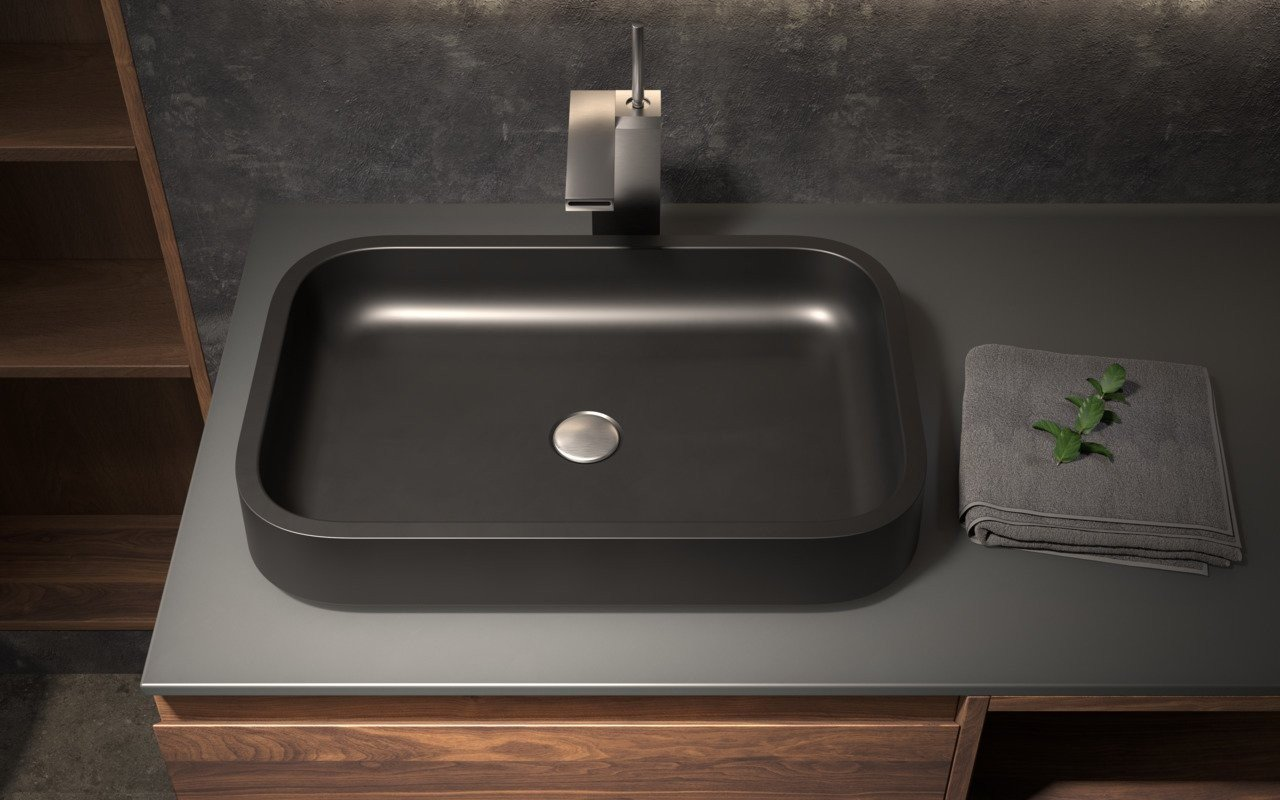 Aquatica Solace-A-Blck Rectangular Stone Bathroom Vessel Sink picture № 0