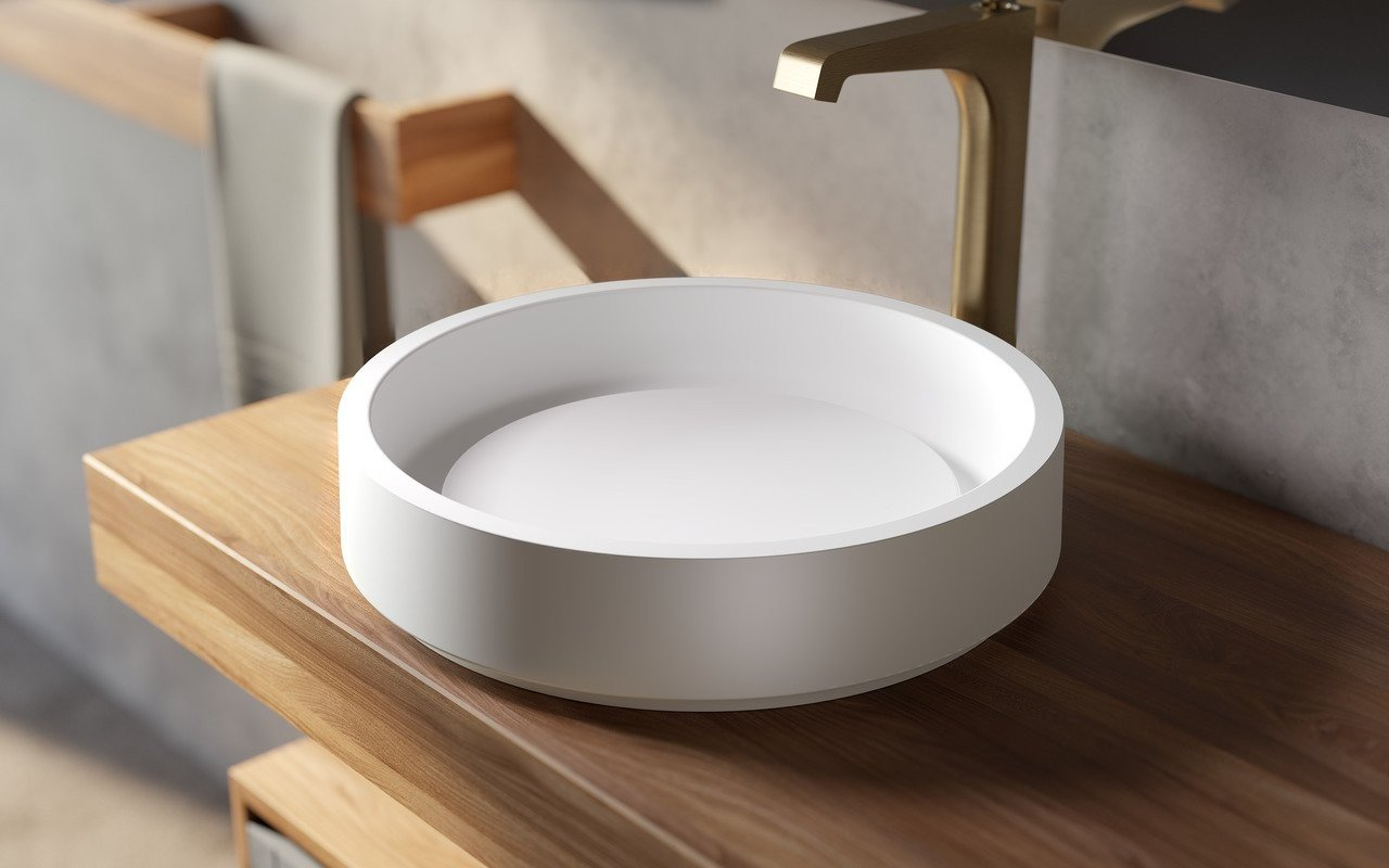 Aquatica Solace-A-Plus-Wht Round Stone Bathroom Vessel Sink picture № 0