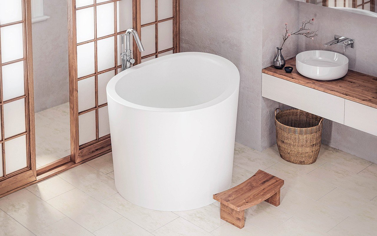 Freestanding japanese soaking tub for Extra long soaking tub