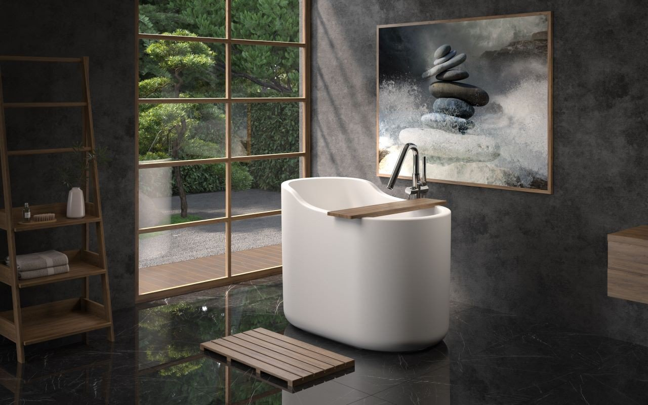 Aquatica True Ofuro Nano White Freestanding Stone Japanese Soaking Bathtub picture № 0