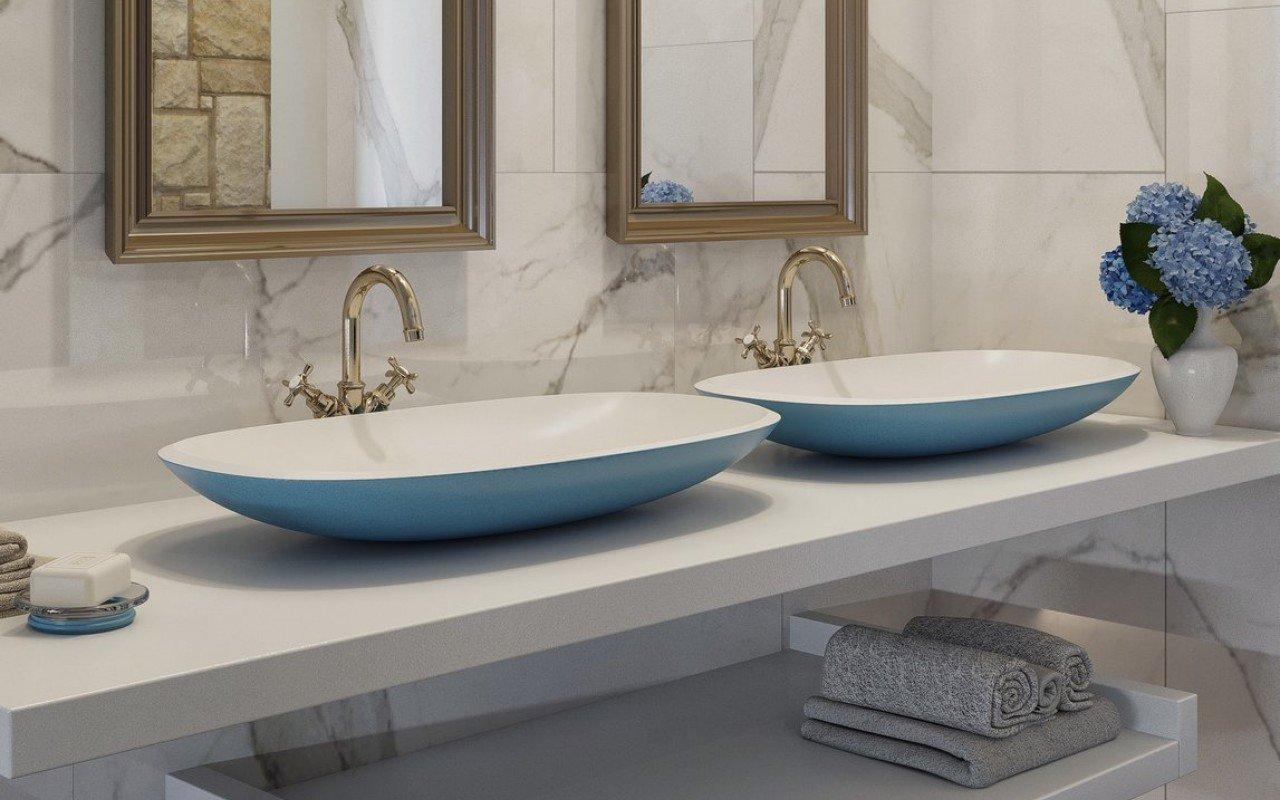 Aquatica Coletta-B Jaffa Blue-Wht Stone Bathroom Vessel Sink picture № 0