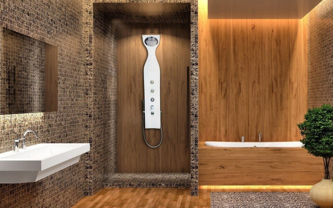 Aquatica Elise Wall Mounted Solid Surface Shower Panel In White