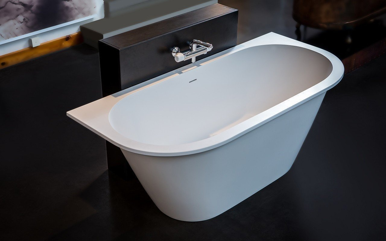 Inflection B Back to Wall Cast Stone​ Bathtub by Aquatica web 8674 Edit