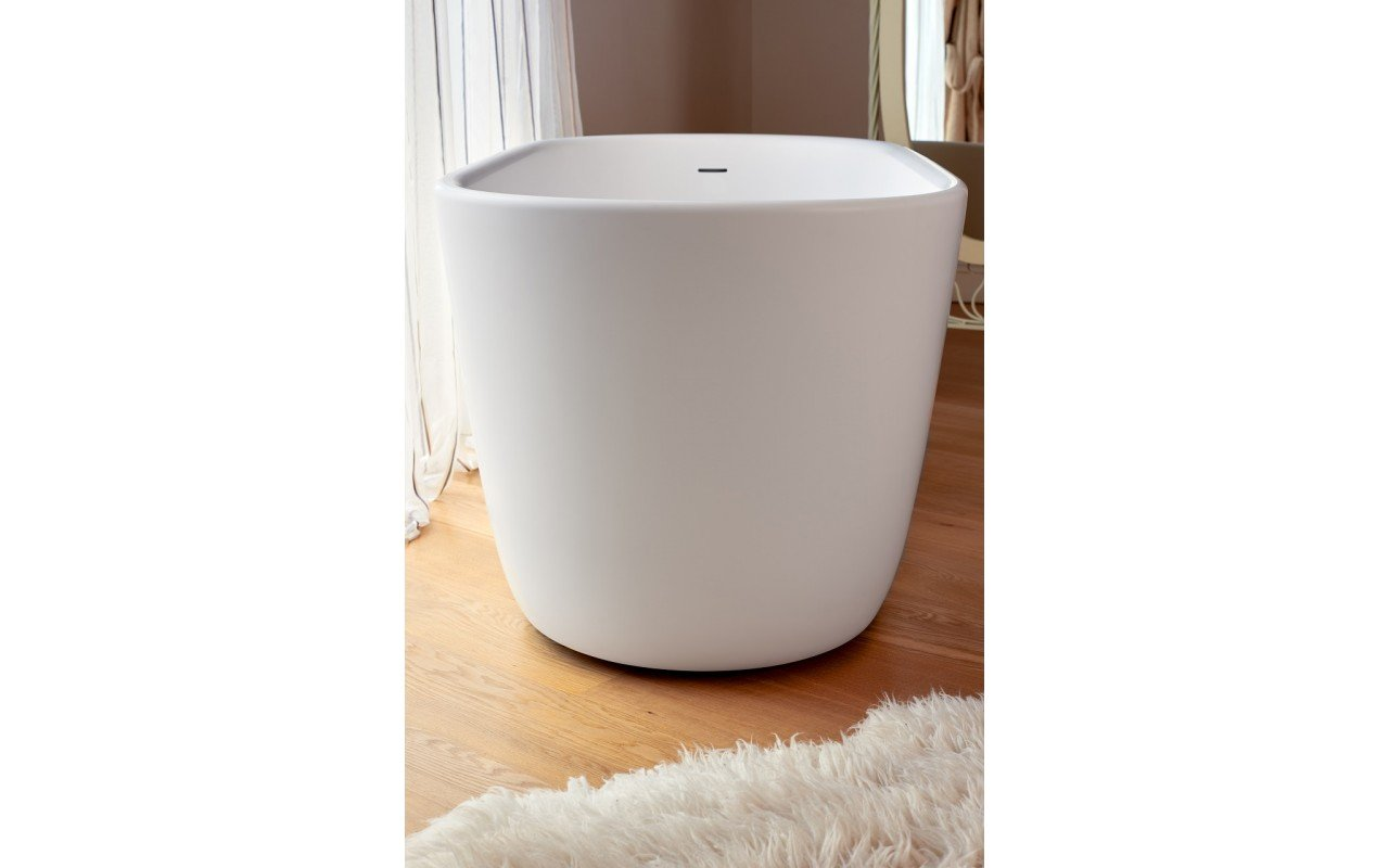 Lullaby Wht Small Freestanding Solid Surface Bathtub by Aquatica web 0057