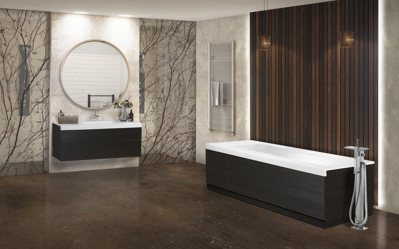Pure 2d by aquatica back to wall stone bathtub with dark decorative wooden side panels 02 (web)