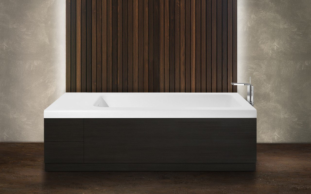 Aquatica Pure 2D Back To Wall Solid Surface Bathtub with Dark Decorative Wooden Side Panels picture № 0