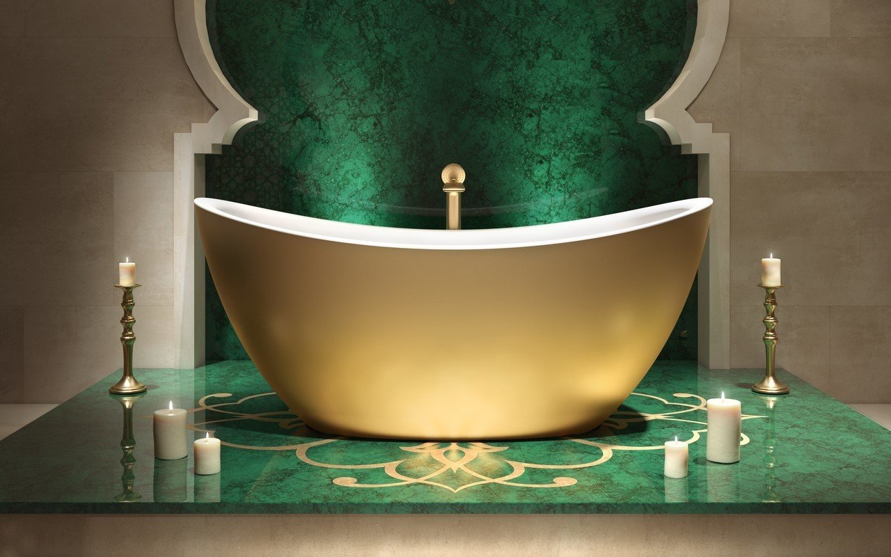 Aquatica Purescape 171 Yellow Gold-Wht Freestanding Solid Surface Bathtub picture № 0