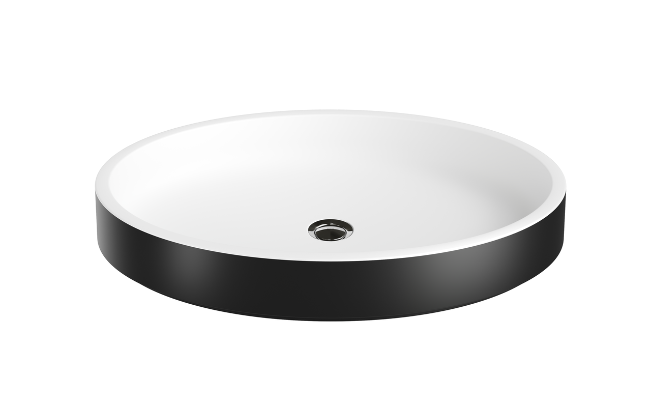 Aquatica Solace-Blck-Wht Oval Stone Bathroom Vessel Sink picture № 0