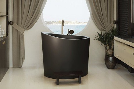 True Ofuro Mini Black Tranquility Heated Japanese Bathtub 220 240V 50 60Hz 10