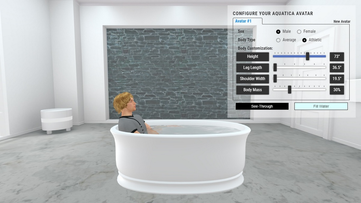 Aphrodite Bathtub 3D Body Position