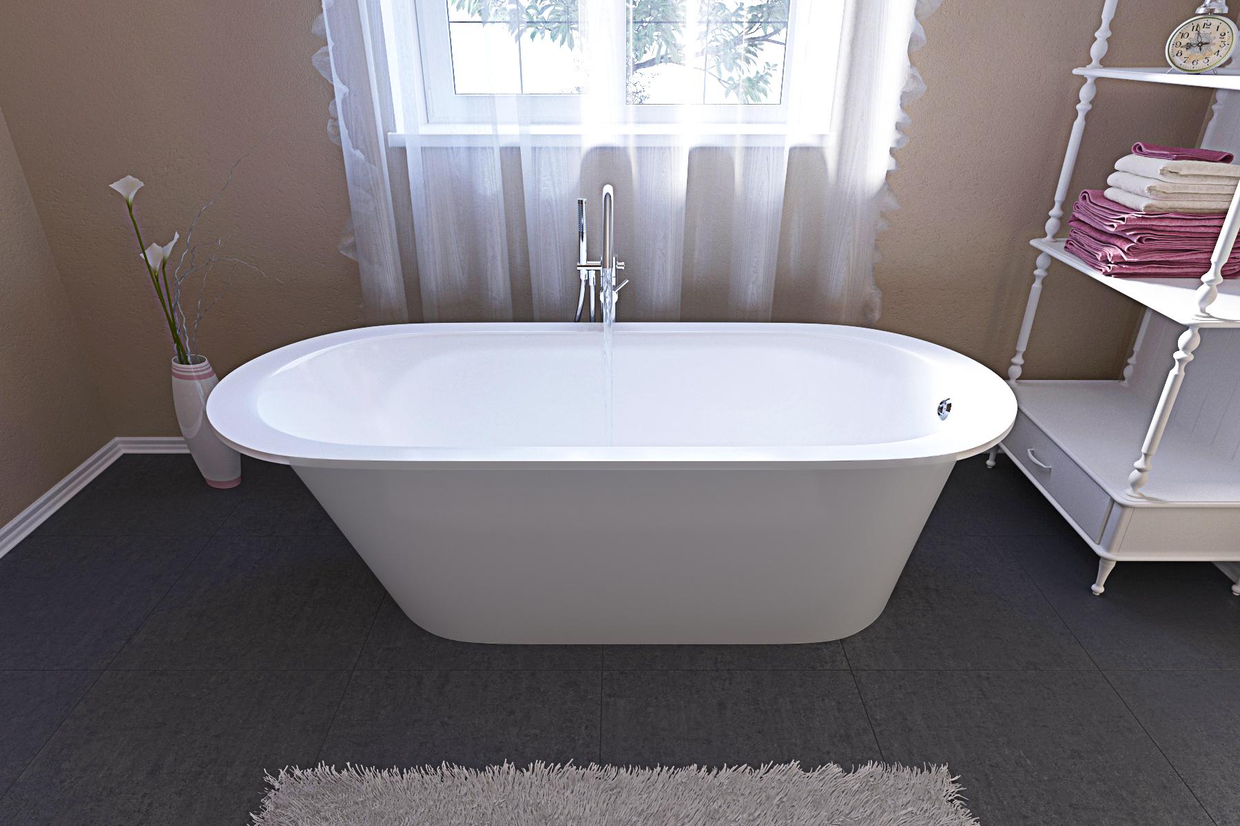 Aquatica Inflection™ A-F-Wht Freestanding Cast Stone Bathtub