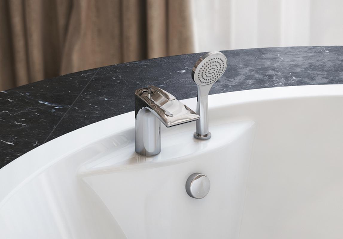 Bollicine d 121 faucet deck mounted tub filler chrome by Aquatica main
