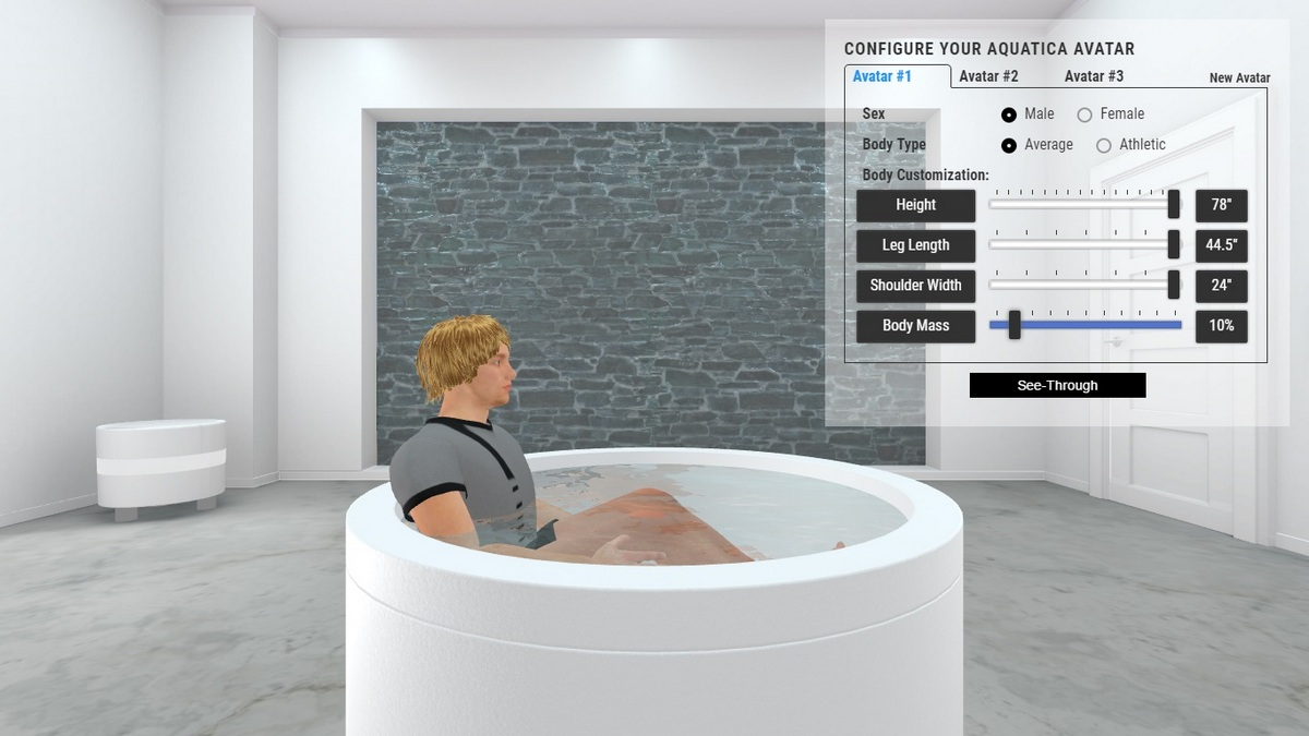 Dream Rondo Hydrorelax Bathtub 3D Body Position