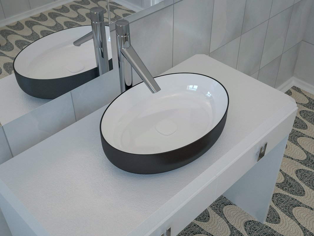 Aquatica Metamorfosi-Black-Wht Oval Ceramic Bathroom Vessel Sink