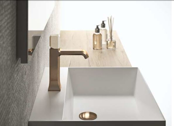 Mood Raw Brushed Metallic Finishes and Stone Handle Inserts