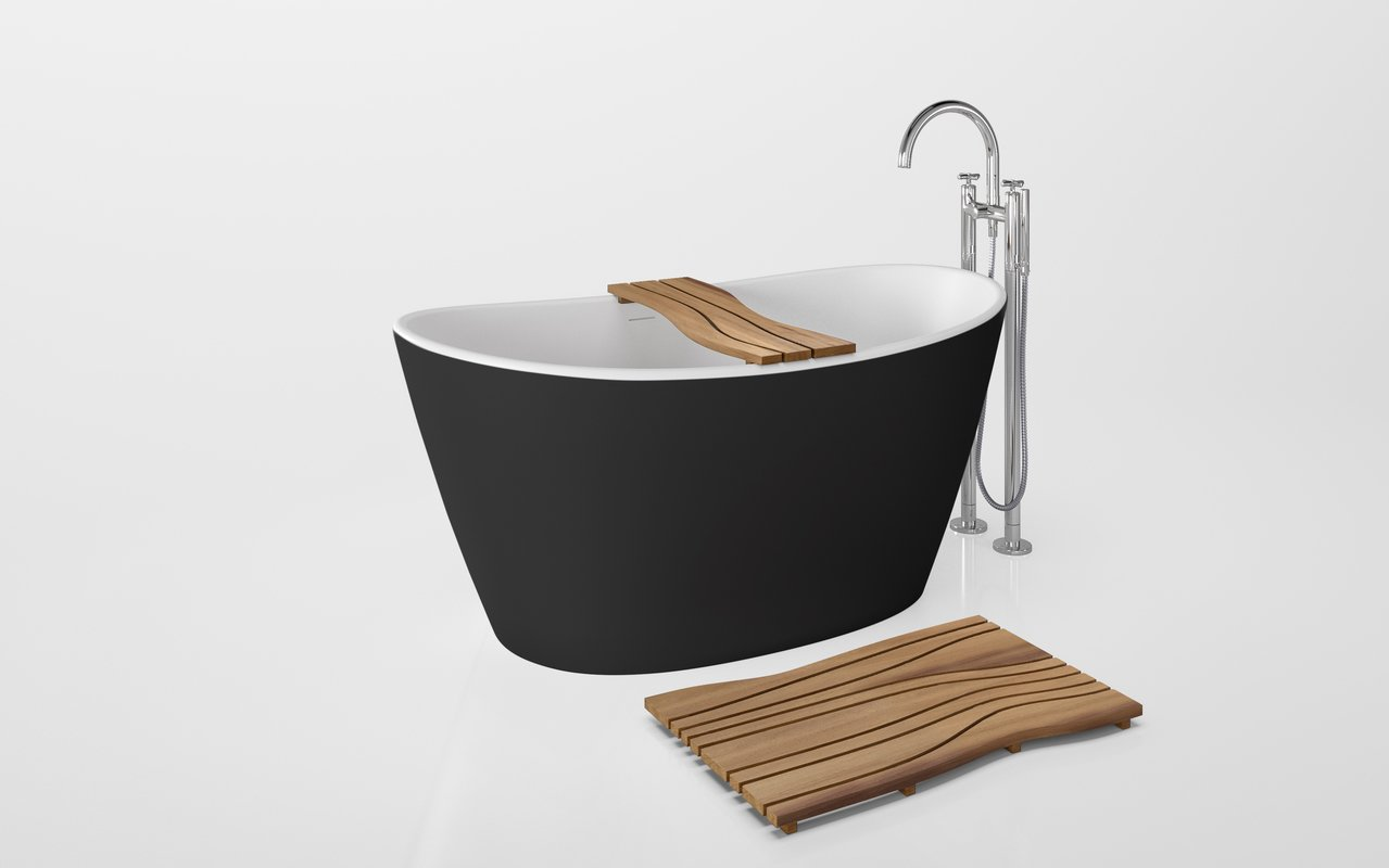 Onde Waterproof Iroko Wood Bathtub Tray on Purescape 748 Black White 01 (web)