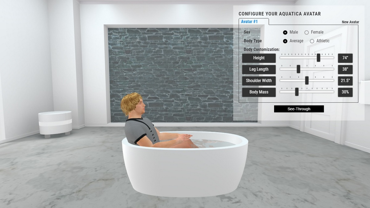 Purescape 174A Bathtub 3D Body Position