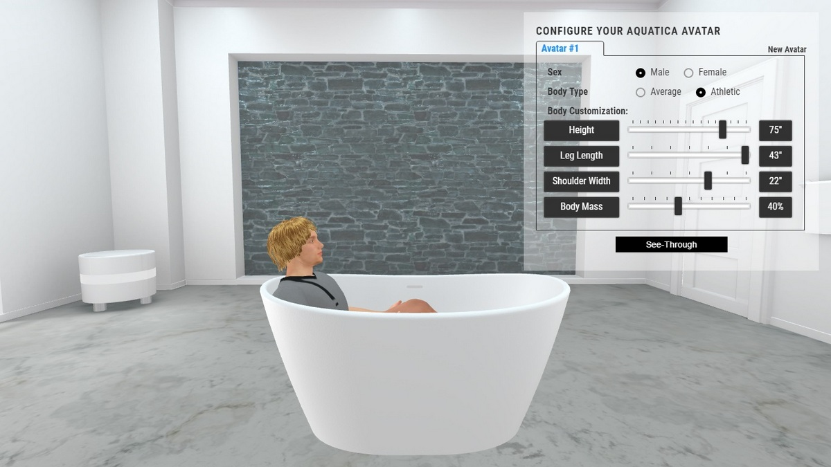 Purescape 748 Bathtub 3D Body Position