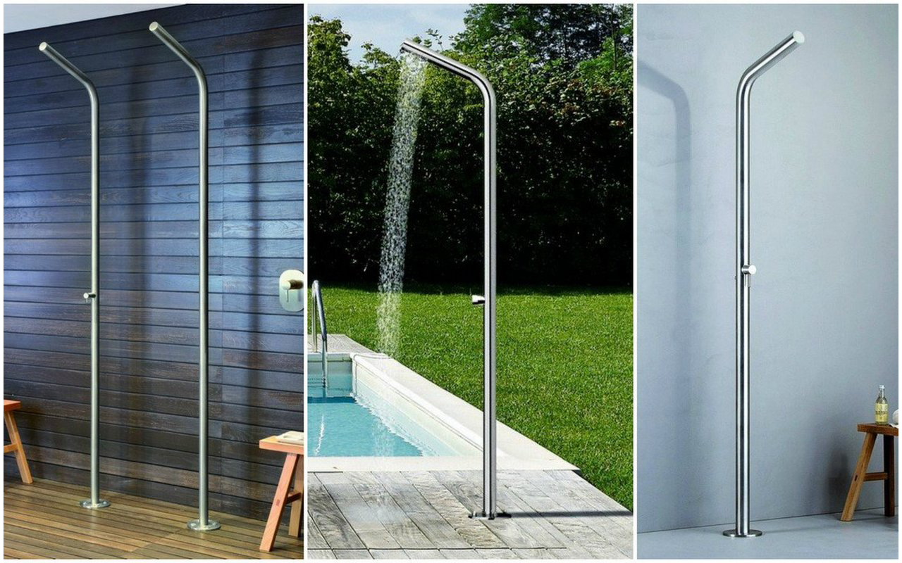 Aquatica Outdoor Showers with one water stopcock progressive mixing valve mixing valve (web)
