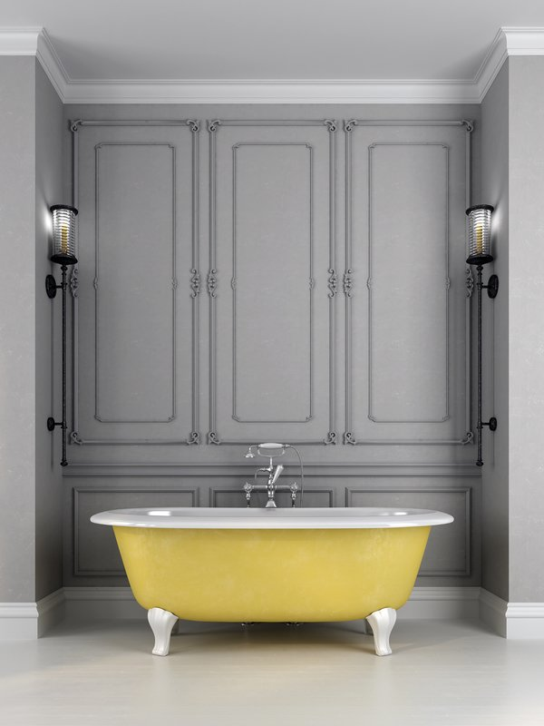 bigstock Bright Yellow Bath On A Gray B 59613221