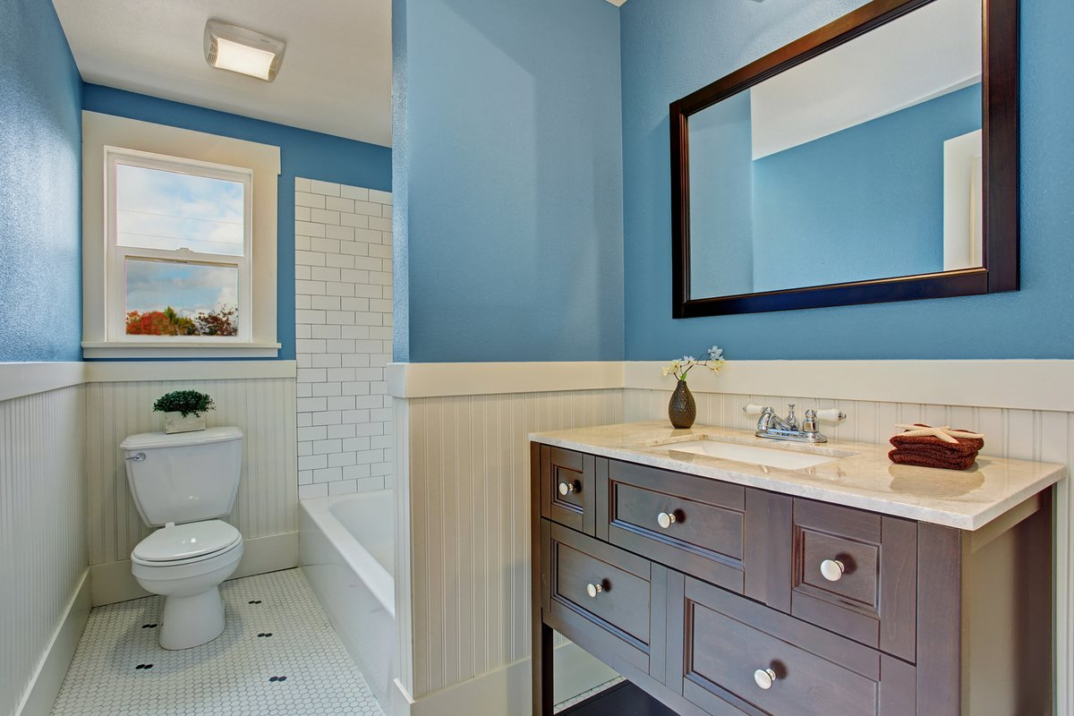 bigstock White And Blue Bathroom Interi 74217427