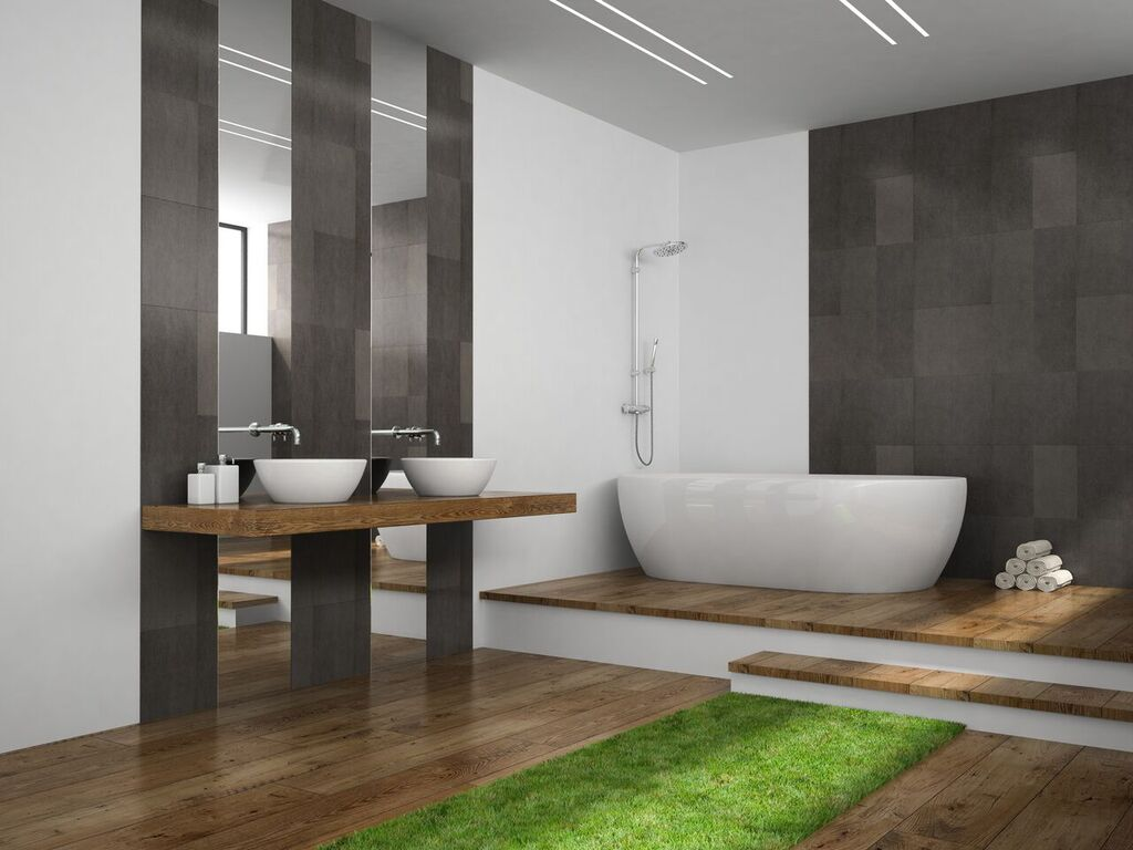 gray greenery bathroom